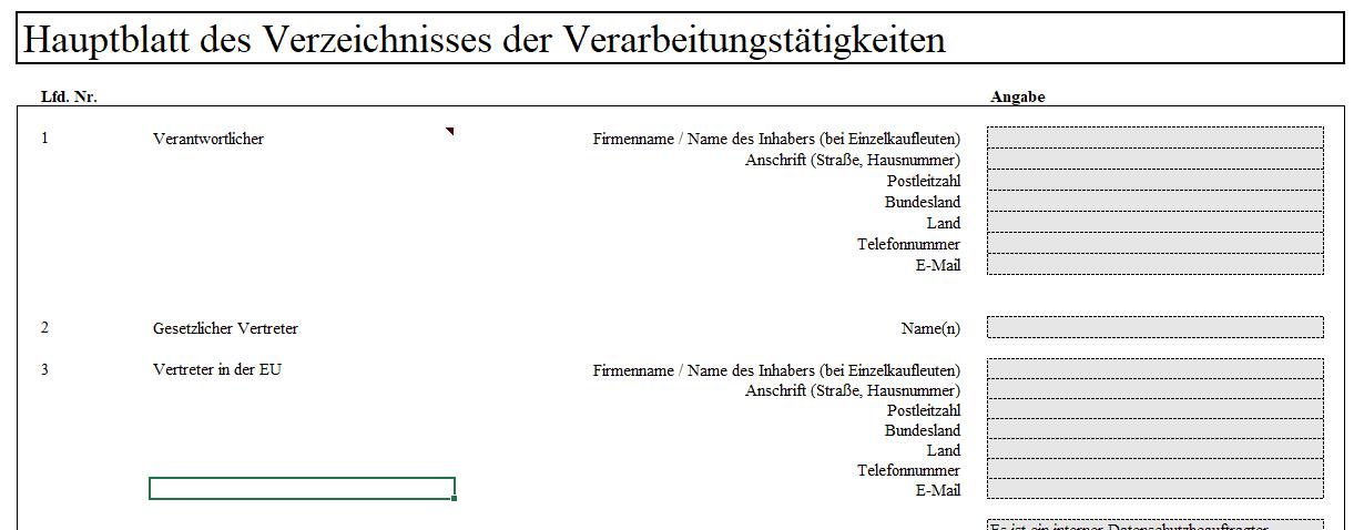Das Excel Tool Für Das Verzeichnis Von Verarbeitungstätigkeiten