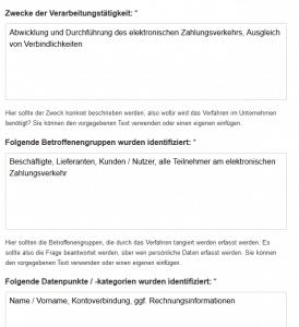 Verarbeitungstätigkeit Elektronischer Zahlungsverkehr DSGVO Tool Zwecke und Betroffene