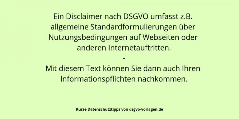 Disclaimer nach DSGVO