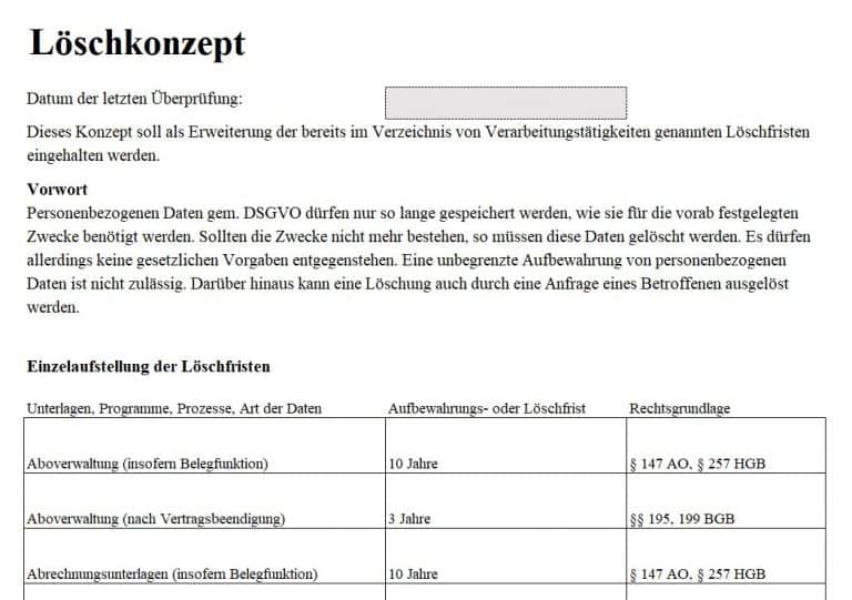 Screenshot Löschprotokoll download inkl. Löschkonzept