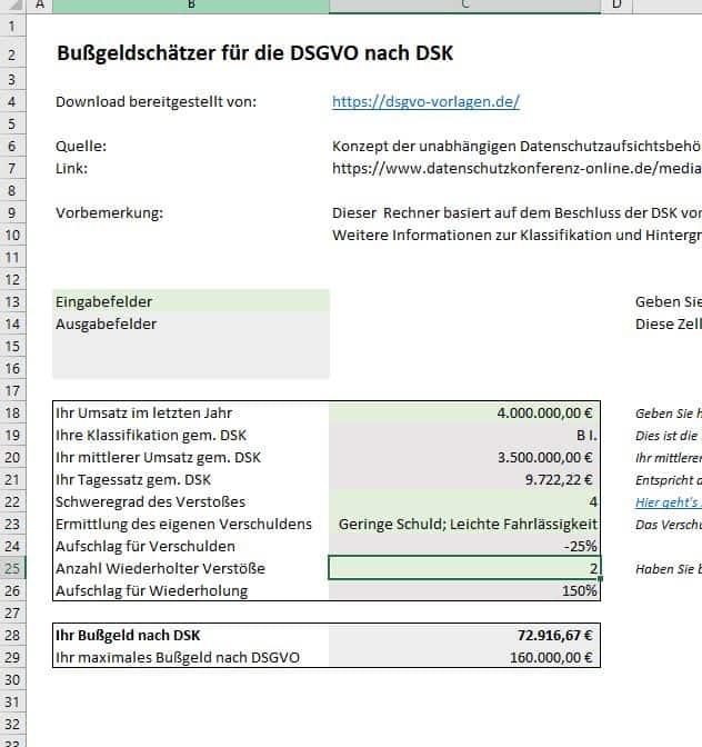 Bußgeldrechner nach DSGVO kostenlos herunterladen.