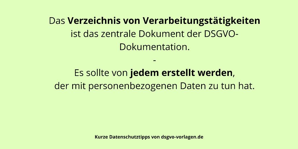Das Verzeichnis von Verarbeitungstätigkeiten ist das zentrale Dokument der DSGVO-Dokumentation. Es sollte von jedem erstellt werden, der mit personenbezogenen Daten zu tun hat.