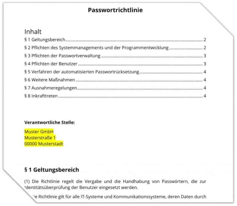 Download Passwortrichtlinie DSGVO